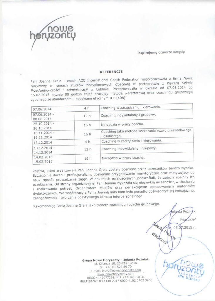 nowe horyzonty - ref. do 15.02.2015